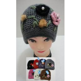 24 Units of Hand Knitted Fashion Cap--2 Flowers - Fashion Winter Hats