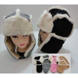 48 Units of Bomber Hat with Fur Lining-Two-tone Suede-Like - Trapper Hats