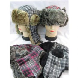 60 Units of Winter Plaid Pilot Hat With Heavy Faux Fur - Trapper Hats