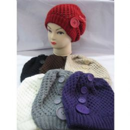 60 Units of Ladies Hat With Large Buttons - Fashion Winter Hats
