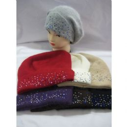 60 Units of Ladies Angora Hat With Sparkles - Fashion Winter Hats