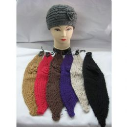 72 Units of Ladies Acrylic Hard Band With Floral Design - Fashion Winter Hats