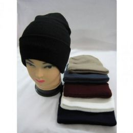 96 Units of Winter Thick Hat Assorted Colors - Winter Beanie Hats