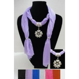 "72 Units of 70"" Scarf Necklace--Flower/Heart Charm - Womens Fashion Scarves"
