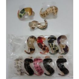 """48 Units of 3.5"""" Swirl Hair Clip-Metallic Floral & """"G"""" - Hair Accessories"""