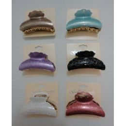 """72 Units of 3.5"""" Claw Clip-Metallic Sparkle - Hair Accessories"""