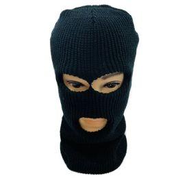 36 Units of Ski Face Cover Three Hole Black Only - Unisex Ski Masks