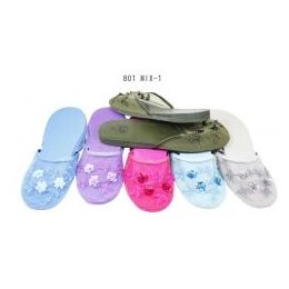 96 Units of Ladies Slipper Mesh With Beads - Women's Slippers