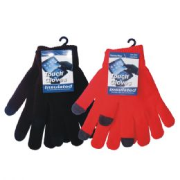 36 Units of Winter Text Finger Glove - Knitted Stretch Gloves