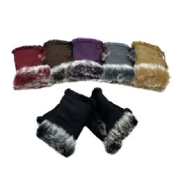 12 Units of Women's Suede With Fur Fingerless Gloves - Knitted Stretch Gloves