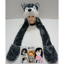 72 Units of Plush Animal Hats With Hand Warmers - Winter Animal Hats