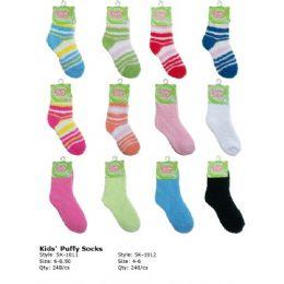 240 Units of Kids Fuzzy Sock Size 4-6 - Womens Fuzzy Socks