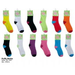 240 Units of Fuzzy Sock With Color Heal And Toe - Womens Fuzzy Socks