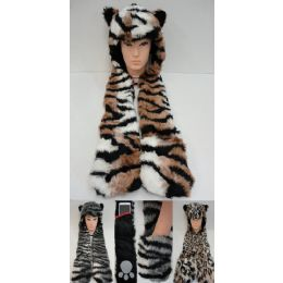 24 Units of Full Animal Hood Hoodie Hat Faux Fur with Paw Mittens - Winter Animal Hats