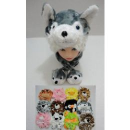 12 Units of Plush Animal Hat with 2 Babies - Winter Animal Hats
