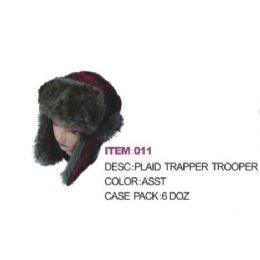 72 Units of Plaid Aviator Winter hat With Faux Fur - Trapper Hats