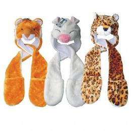 24 Units of Winter Animal Hat Long w/ Glove - Winter Animal Hats