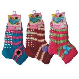 72 Units of Girls Slipper Socks With Gripper Bottom Size 6-8 - Girls Crew Socks