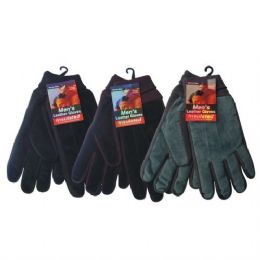 72 Units of Winter Glove Suede Men - Knitted Stretch Gloves