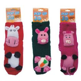 24 Units of Winter Knit Socks 3D Animals
