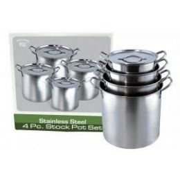 2 Units of 4pc. Stainless Steel Stock Pot Set - Stainless Steel Cookware