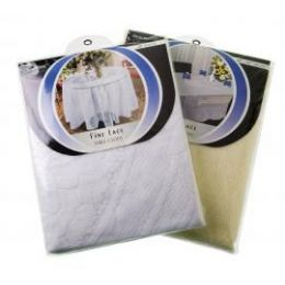 "144 Units of 54""X72"" Lace Oblong Tablecloth (Assorted White & Beige) - Storage Holders and Organizers"