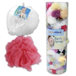 144 Units of 45gram Bath Sponge in Plastic Floor Display - Loofahs & Scrubbers
