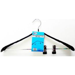48 Units of Metal Clothes Hanger With Clips Black - Hangers