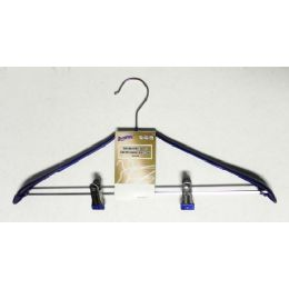48 Units of Metal Clothes Hanger With Clips Blue - Hangers