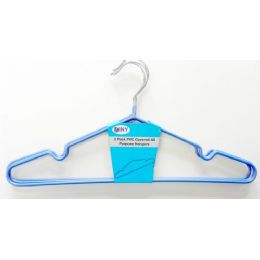 48 Units of Metal 3 Pack Clothes Hanger Blue - Hangers