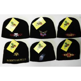 288 Units of Embroided Knit Caps - Winter Beanie Hats