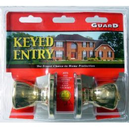 6 Units of Brass Keyed Entry Doorknob Set - Doors