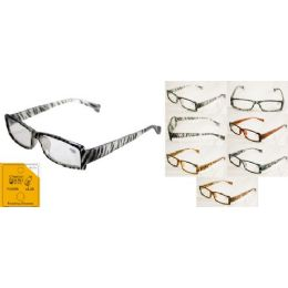 24 Units of Translucent plastic reader with striped or spotted animal print - Reading Glasses
