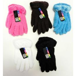 144 Units of Ladies Stretch Solid Fuzzy Gloves with Feathered Cuff - Fuzzy Gloves