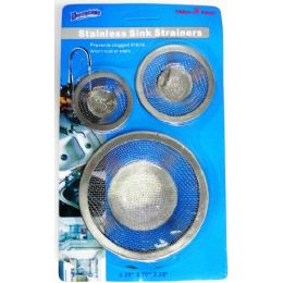 48 Units of 3 Pack Stainless Steel Sink Strainers - Strainers & Funnels
