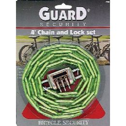 12 Units of Heavy Duty 4 ft Chain and Combination Lock - Padlocks and Combination Locks