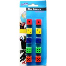 48 Units of Pencil Erasers Dice Design 10 Pack - Erasers