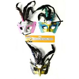 48 Units of Mardi Gras Halloween Feather and Glitter Mask - Costumes & Accessories