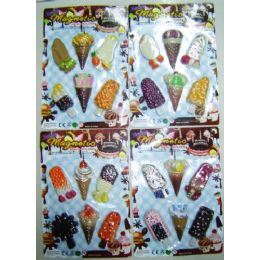 48 Units of 6 pack Ice Cream Magnet Assortment - Refrigerator Magnets