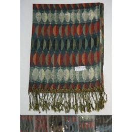 72 Units of Fashion Pashmina with Fringe--Metallic Elliptical Design - Winter Pashminas and Ponchos