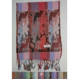 24 Units of Fashion Pashmina with Fringe--Stripes and Metallic Camo - Winter Pashminas and Ponchos