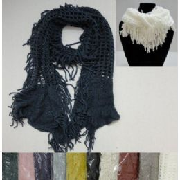72 Units of Fashion Scarf or Neck Wrap--Loose Knit with Fringe on Sides - Winter Scarves