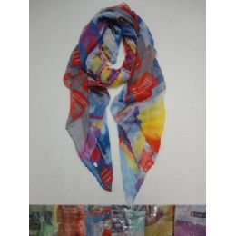 72 Units of Fashion Scarf--Painted Shapes - Winter Scarves