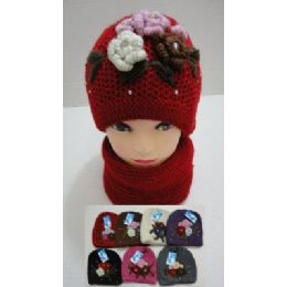 36 Units of Hand Knitted Fashion Hat & Scarf Set--5 Flowers and Rhinestones - Winter Sets Scarves , Hats & Gloves