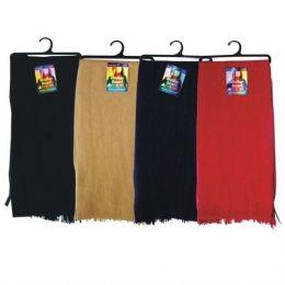 144 Units of Solid Color Flece Scarf On A Hanger BLACK ONLY - Winter Scarves