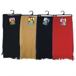 144 Units of Solid Color Flece Scarf On A Hanger NAVY ONLY - Winter Scarves