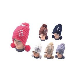 36 Units of Winter Warm Hat With 3 Pom Poms - Winter Helmet Hats