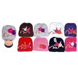 60 Units of Ladies Knit Hat With Flower - Fashion Winter Hats