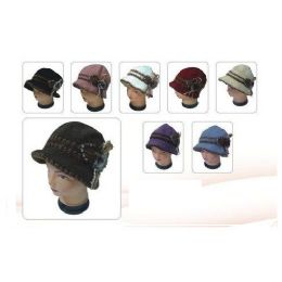 48 Units of Heany Knit Winter Floral Hat - Fashion Winter Hats