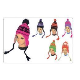 72 Units of Women's Neon Snow Flake Design Helmet Hat - Winter Helmet Hats